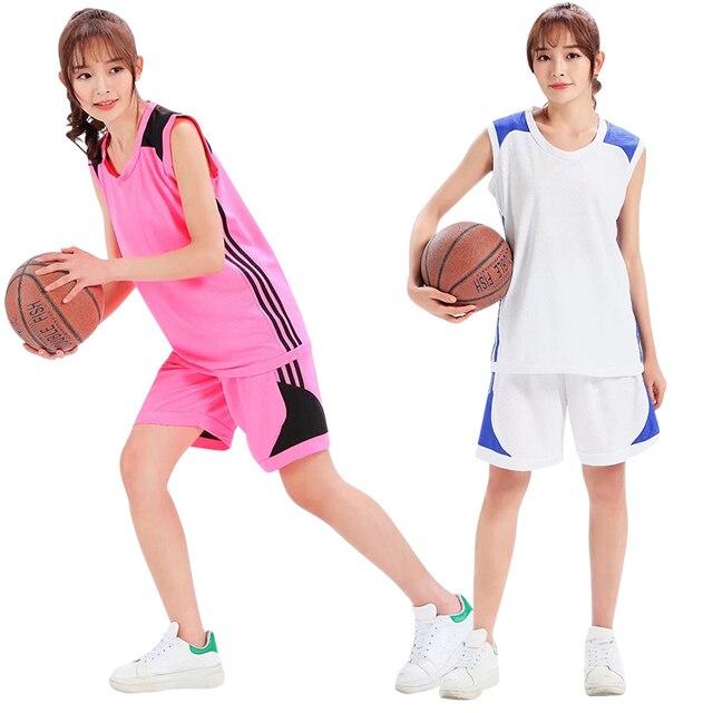 b3f275e445 Personalizado DIY feminino Conjuntos Uniformes de Basquete Jerseys kits  Juventude Baratos Uniformes de basquete roupas Esportivas