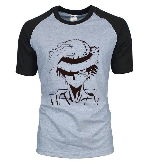 Anime One Piece Monkey D Luffy T-shirts homme coton couples Vêtements Raglan Top