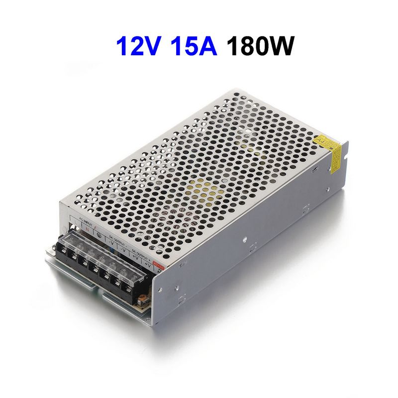 5pcs DC12V 15A 180W Switching Power Supply Adapter Driver Transformer For 5050 5730 5630 3528 LED Rigid Strip Light led driver ac 100 240v to dc 12v 5a power supply charger adapter transformer 220 v 12 v converter for 5050 3528 led strip light