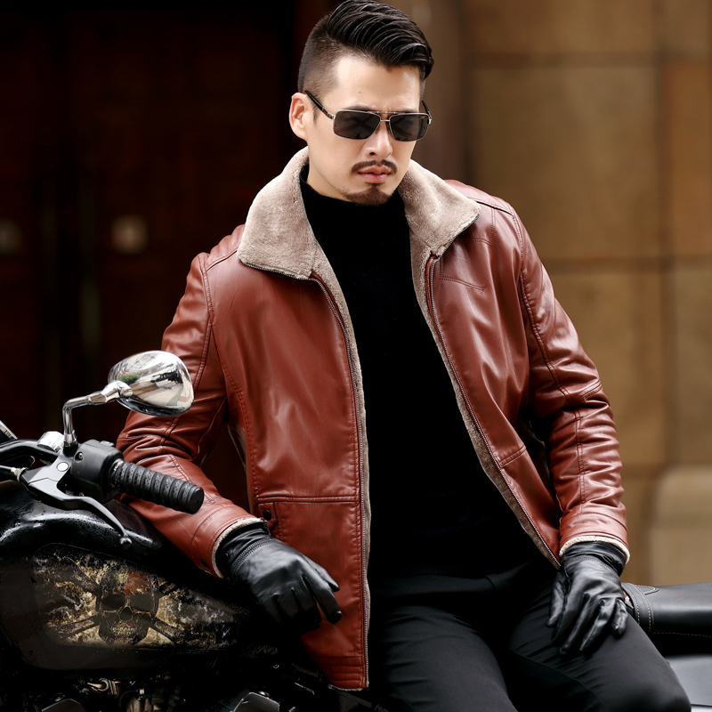 New Plus Size 8XL 7XL 6XL 5XL Warm Winter Sheepskin Men's Leather Jacket Men Leisure Coat Men Fur Lining Jackets Outerwear Parka