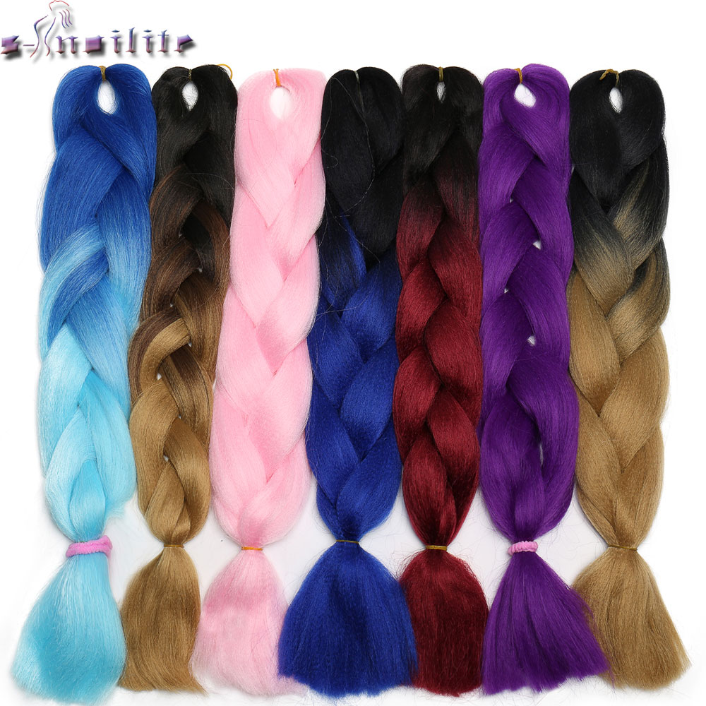 Tireless S-noilite Braiding Hair One Piece 24 Inch Synthetic Kanekalon Fiber Braid 105g/piece Ombre Color Jumbo Braid Hair Extensions Hair Extensions & Wigs