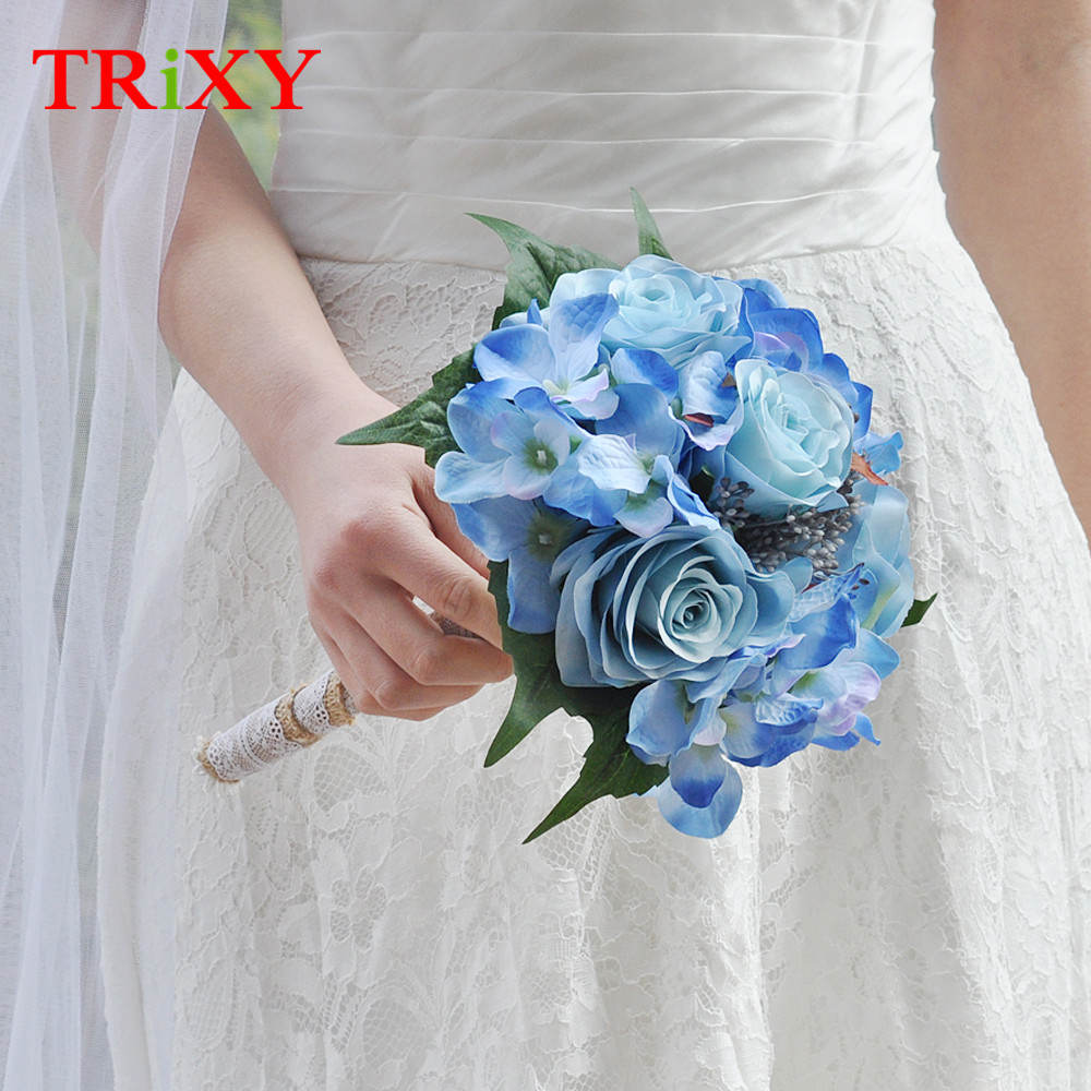 Trixy B16 Wedding Bouquet Bridal Holding Flowers Rose Artificial