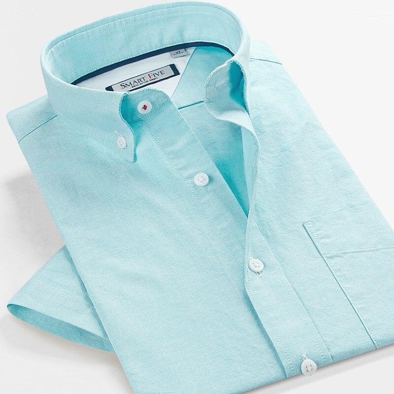 Smart cinq chemises hommes Chemise Homme 2018 été Chemise à manches courtes hommes Slim Fit vert coton Camisa Social décontracté Chemise Homme