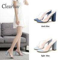 New ladies dress with sandals PVC heel transparent women's sexy transparent high heels summer sandals shallow shoes C0665