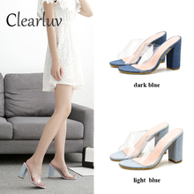 New ladies dress with sandals PVC heel transparent womens sexy high heels summer shallow shoes C0665