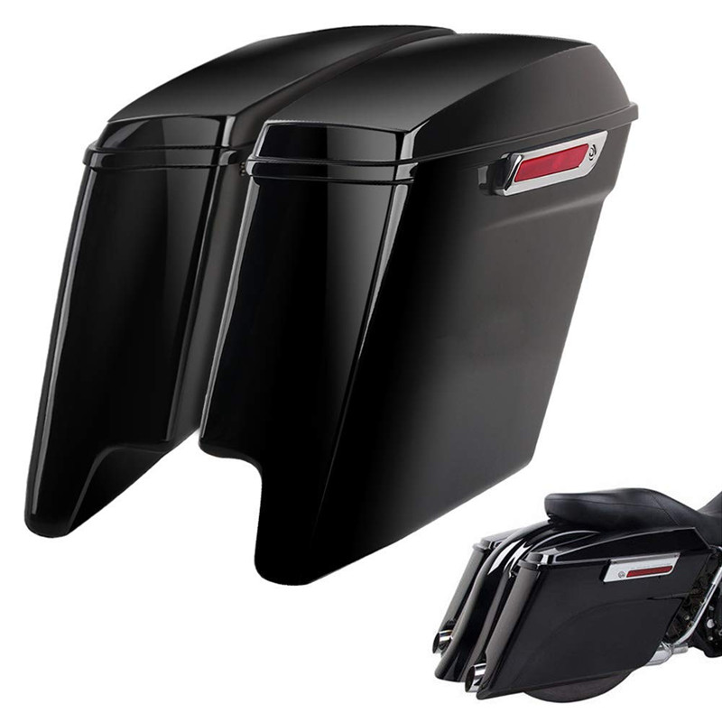 Triclicks 5 Vivid Black Étiré Étendu Sacoches Pour Harley Touring 14-18 W/Latch