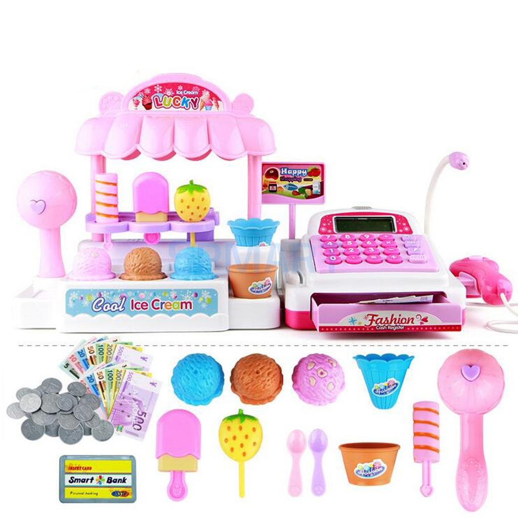 36 Pcs Simulation Ice Cream Store Cash Register Set w/Music & Light Kids Food Pretend Pl ...