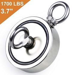 Doppelseitige Neodym angeln magnet, 1700 £ (770 KG) Ziehen Kraft, durchmesser 3,7 zoll (94mm) super starke angeln magnet