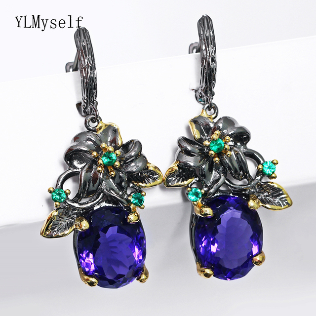 Beautiful flower trendy dangle earring Big oval purple crystal Black gold color jewellery gift for wife nice drop earrings