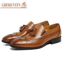 GRIMENTIN Fashion Cool serpentine formal mens dress shoes genuine leather black tassel wingtip flats for men business wedding