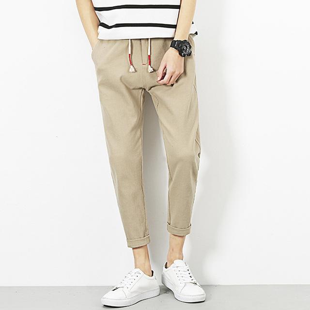 2017 dos homens novos harem pants casuais masculinos calças de linho confortável tamanho grande m-5xl men pant khaki cor sólida branco