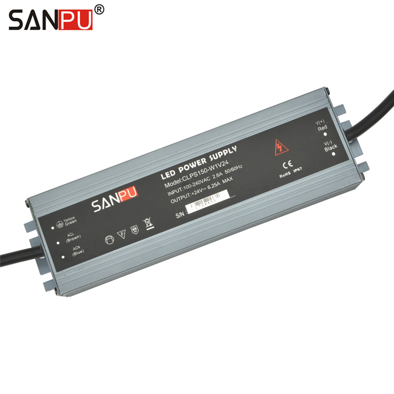 SANPU LED Driver 24VDC 150W 6A Constant Voltage Switching Power Supply 24V Waterproof IP67 AC/DC Lighting Transformer 24 Volt