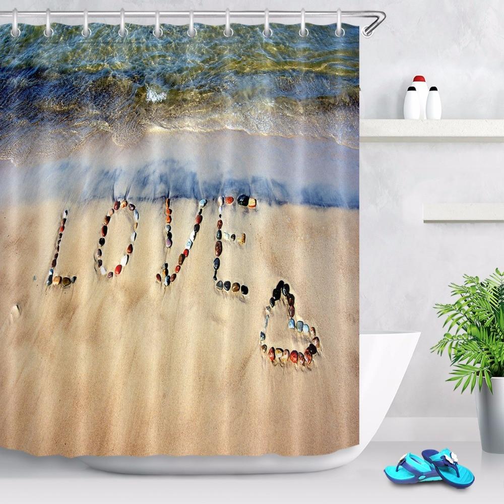Valentines Day Heart Love Bathroom Waterproof Fabric Shower Curtain Set 12Hooks