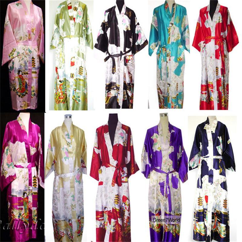 2014 NEW Chinese Womens Silk Rayon Robe Kimono Bath Gown Nightgown S M L XL XXL XXXL Free Shipping ZS02