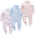 Одежда для маленьких девочек, весенний комбинезон для новорожденных с цветами для девочек, хлопковый цельный комбинезон для младенцев, ком...