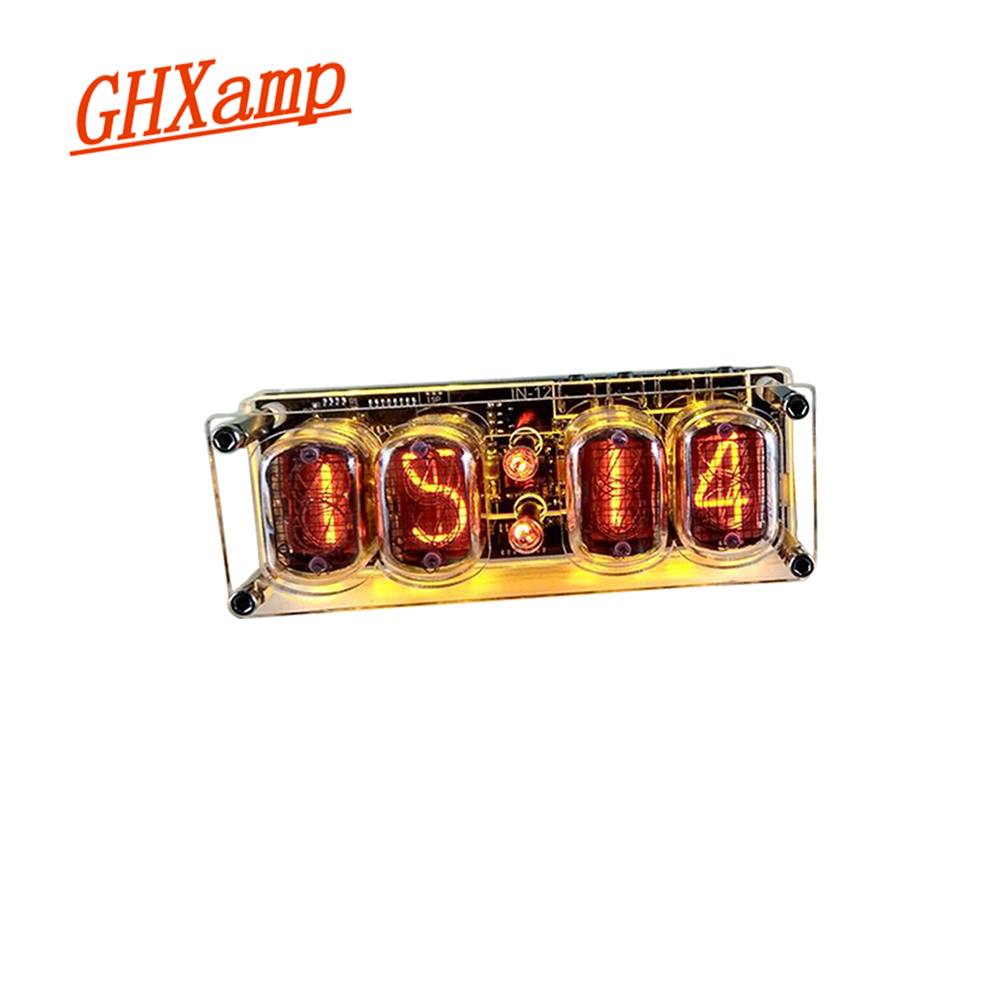 GHXAMP IN-12 Glow Tube 4-digit Clock Colorful LED Backlight DS3231 Nixie  Clock IN-12B DC5V USB Electronic DIY