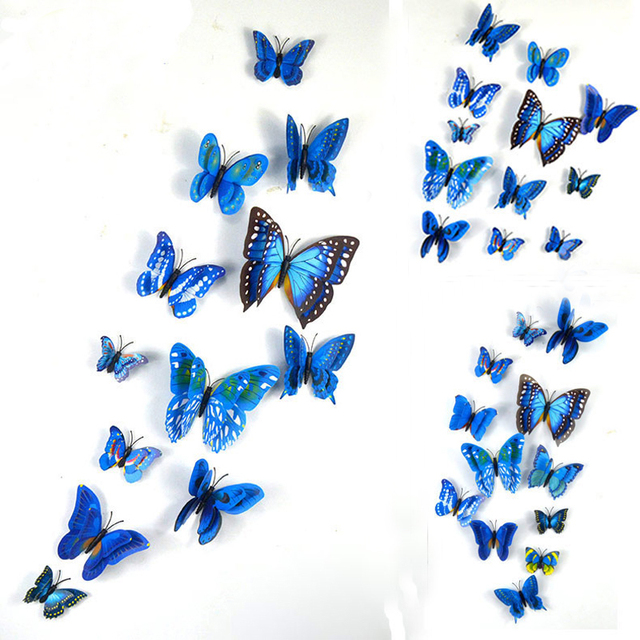 low price for sale, 12 pieces / batch pvc 3d butterfly wall stickers