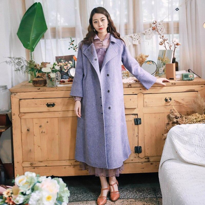 De Pourpre Double Veste Laine Mode Nouvelles 2018 Face Rétro Manteau Femmes 7pqwUTE