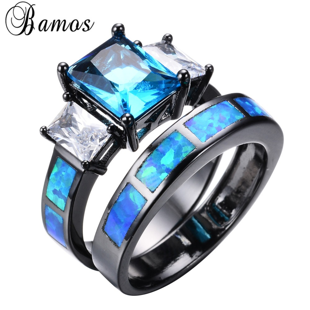 blue opal engagement ring opal wedding ring sets Image of White Opal Engagement Rings