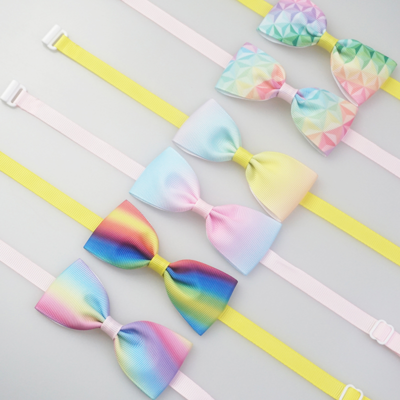 Cute Rainbow Style Dog Bow Ties Colorful Ribbon Puppy Small Dogs Cats Neck Ties For Collar Pet Grooming Accessories 6 Colors