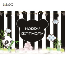 Panda Birthday Party Bamboos Cloud Black and White Stripe Baby Portrait Photo Backdrops Photographic Background For Studio