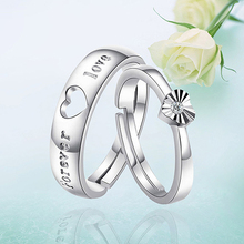 Men's Women's Heart-shaped Lovers Ring Silver Plated Adjustable Open Ring Gift
