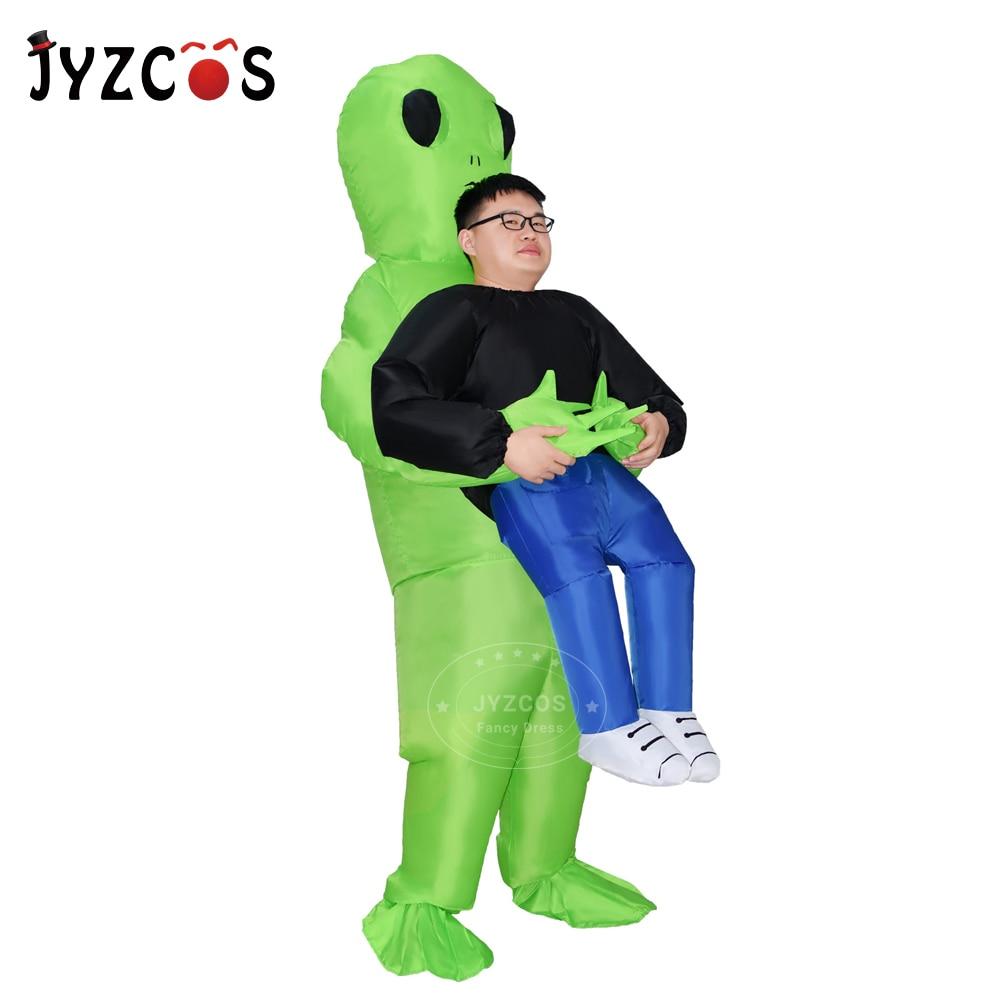 JYZCOS Alien Inflatable Costume Halloween Costume for Women Men Green Alien Costume Adult Monster Cosplay Inflatable suit Костюм