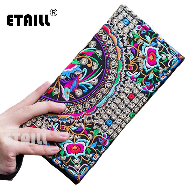Purse Handmade Embroidery Day-Clutch Ethnic-Flowers Long Women Famous Evening-Brand Wallet