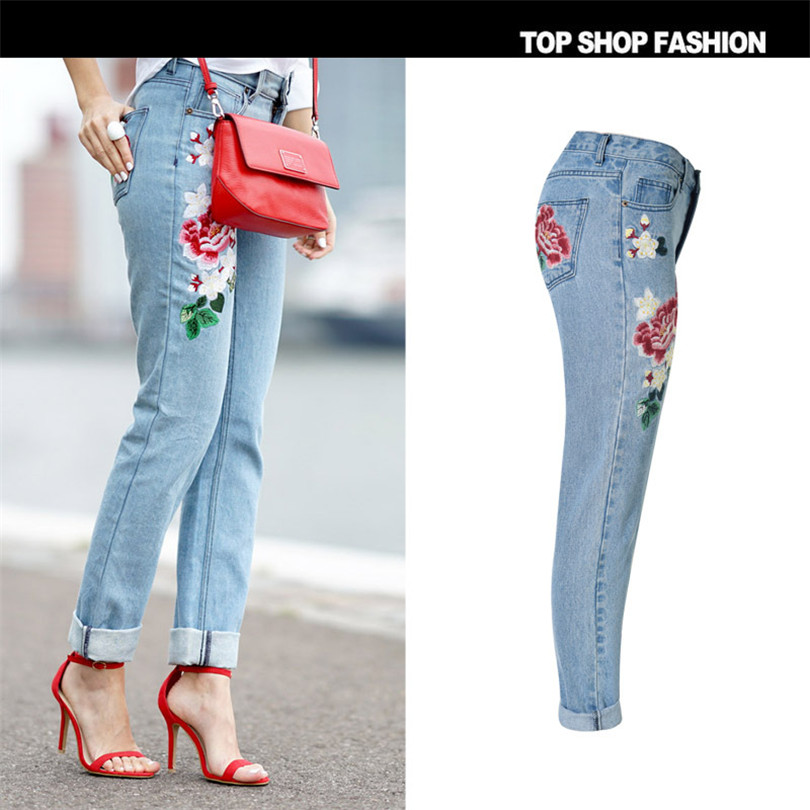 3D pastoral embroidery ladies rose Loose Jeans 5