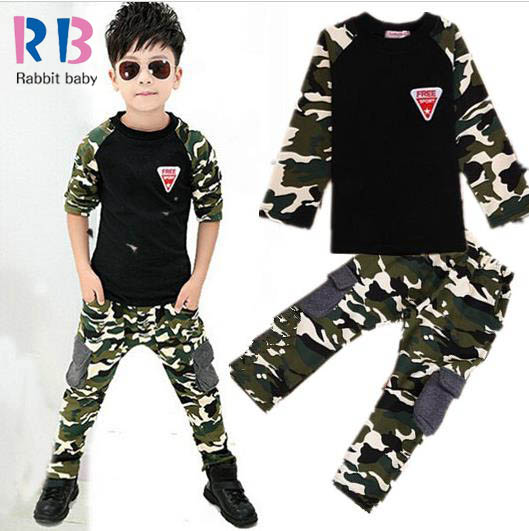 2015 New Camouflage Kids Clothing Set for Boys&Girls Spring&Autumn Cotton Camo Boys Sports Girls kids clothes