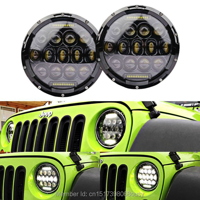 Pair 7inch Round Black Projector led headlight with DRL Hi/Lo Beam for Jeep Wrangler JK Harley Davidson with H4 H13 Adapter 2pcs new design 7inch 78w hi lo beam headlamp 7 led headlight for wrangler round 78w led headlights with drl
