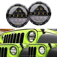 Pair 7inch Round Black Led Headlight With DRL Hi Lo Beam For Jeeps Wrangler JK Harley