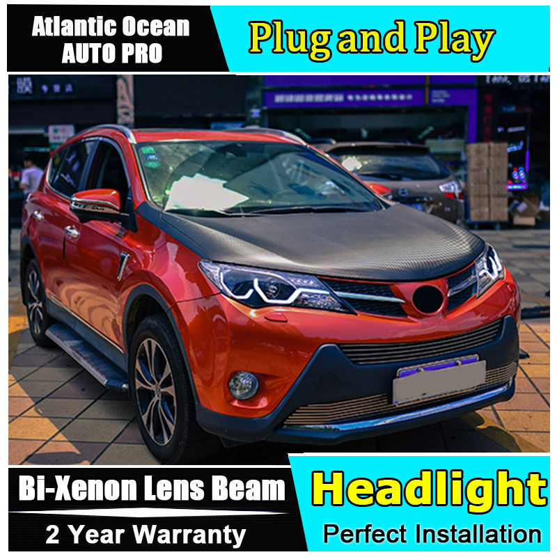 car styling LED Head Lamp for Toyota RAV4 led headlight 2013 2014 2015 for RAV-4 drl H7 hid Bi-Xenon Lens angel eye low beam auto part style led head lamp for nissan x trail led 14 15 headlights for x trail drl h7 hid bi xenon lens angel eye low beam