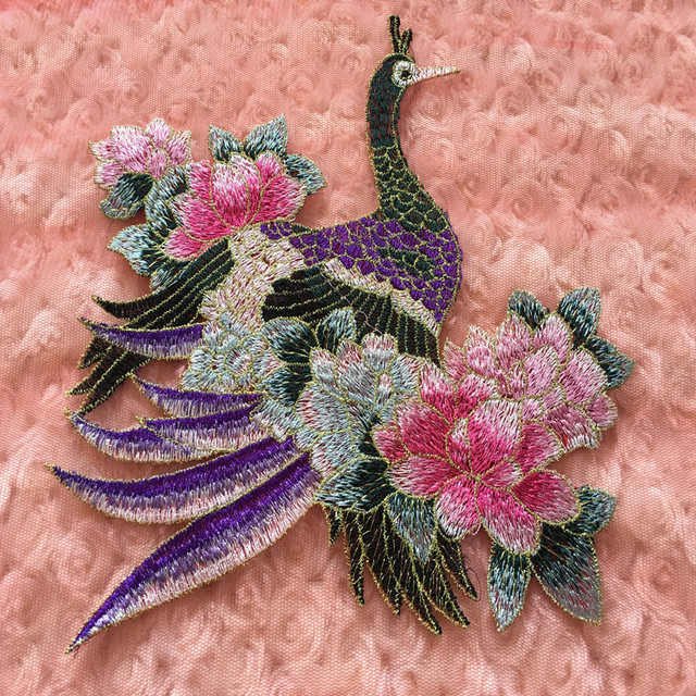 3Pcs Peacock Peony Applique Patch Sew On Cheongsam Clothes Embroideried  Fabric Flower Decorative Sticker Accessories 22 a3540b0b5730