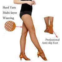6 unids/pack baile medias las mujeres medias de rejilla para danza y baile hilo duro elástico Latina calcetines para danza