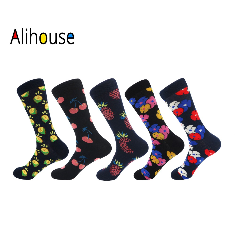 Alihouse Men Socks Happy Socks 5 Pairs/lot Colorful Flowers Fruit Pattern Combed Cotton Casual Dress Wedding Crew Socks Men