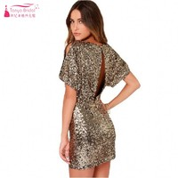 TANYA Gold Sequins Short Mini Cocktail Dresses Open Back Sexy Simple Women Party Gown In Stock JQ228