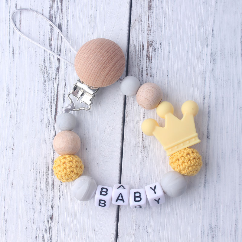 14pcs Silicone Beads Letter Crown Cartoon Baby Teether Beads Chewing Bead Necklace BPA Free Teether Toy Accessories Nursing Toys (8)