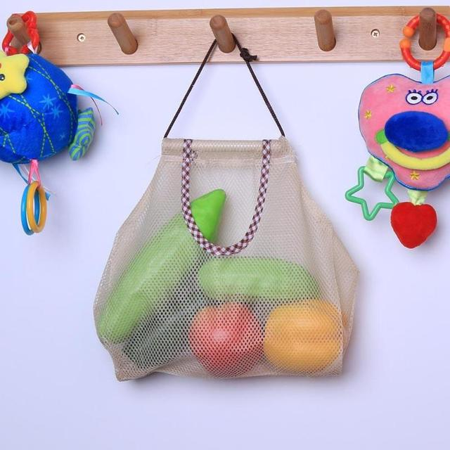 991a3142fc0 2018 New Reusable Fruit Vegetable Hanging Storage Bag Protable Breathable  Mesh Pouch Kitchen Organizer Accessories 29x26cm