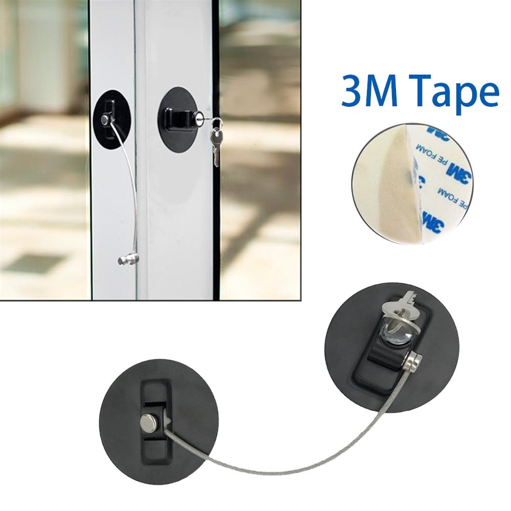 Baby Children Safety Lock 3M Window Limiter Stopper Fridge Drawer Lock Punch-free Stainless Steel Key Cylinder Kids Security