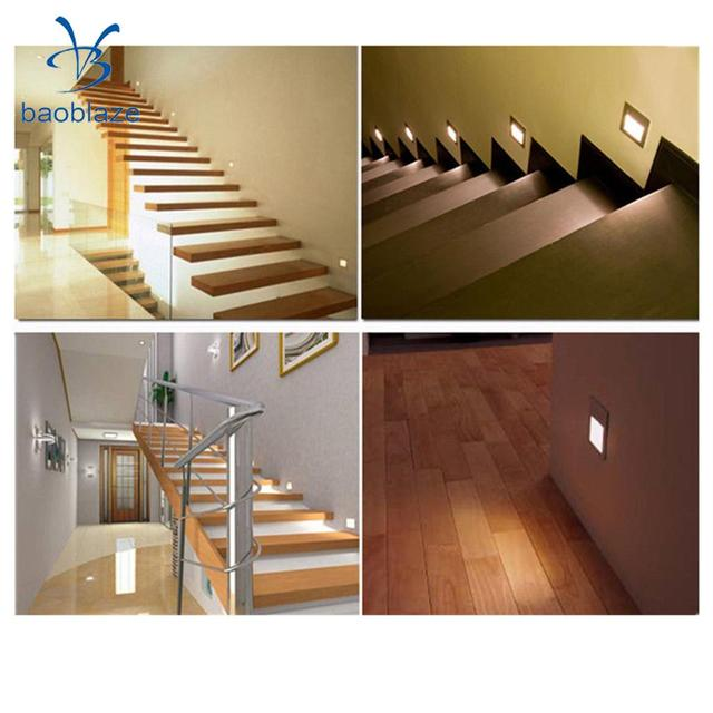 2pcs 1 5w led wall sconces recessed light hallway stair step path fixture spot lamp silver