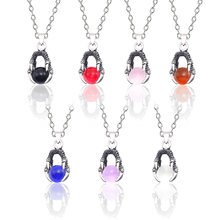 New Retro Dragon Claw Necklace For Women Ancient Silver Metal Claws Men And Women Models Colorful Crystal Ball Necklace Pendants