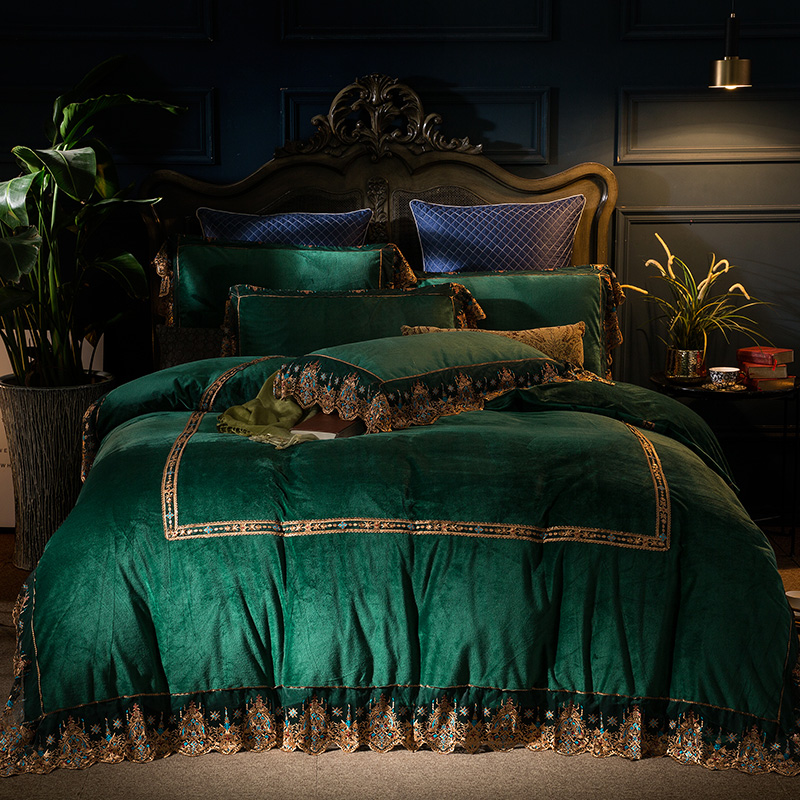 European Luxury Green Gray Flannel Winter Thick Bedding Set Lace Fleece Fabric Duvet Cover Bed Sheet Bed Linen Pillowcases 4pcs