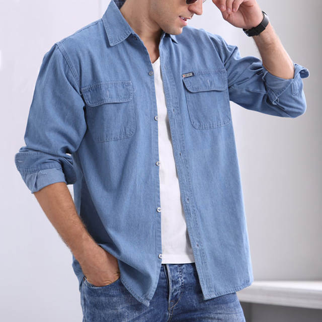 8d52a66e Online Shop Mens Blue Denim Shirt With Chest Flap Pockets New 2018 Long  Sleeve Casual Jean Shirts For Men Cowboy Shirt | Aliexpress Mobile