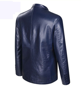 Image 4 - Dropshipping wiosna i jesień luźny, z klapami skórzana kurtka mężczyźni plus size skórzane casualowa kurtka męskie płaszcz skórzany