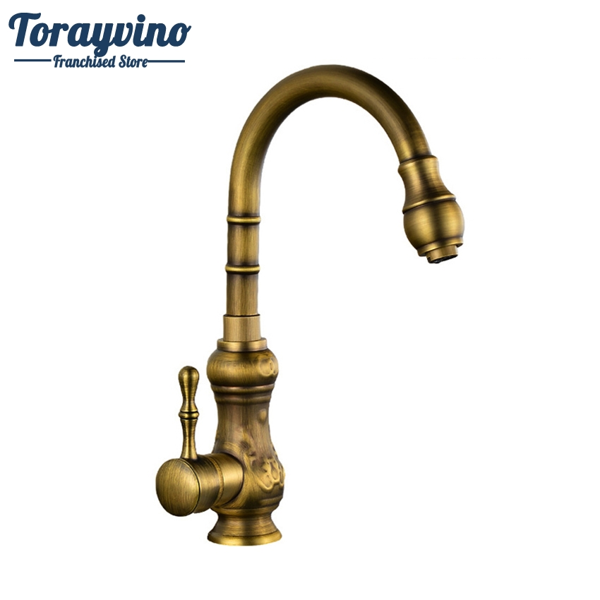 Torayvino Kitchen Faucet Antique Brass Bathroom Basin Faucet Swivel Spout Vanity Sink Mixer Single Handle Tormeira Cocina Faucet antique brass swivel spout dual cross handles kitchen