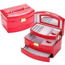 ПРОДВИЖЕНИЕ Роскошный Кожаный PU Крокодил Зерна Jewelry Box 3 Слоя Fashion Jewellery Коробка Для Хранения Упаковка Case Организатором