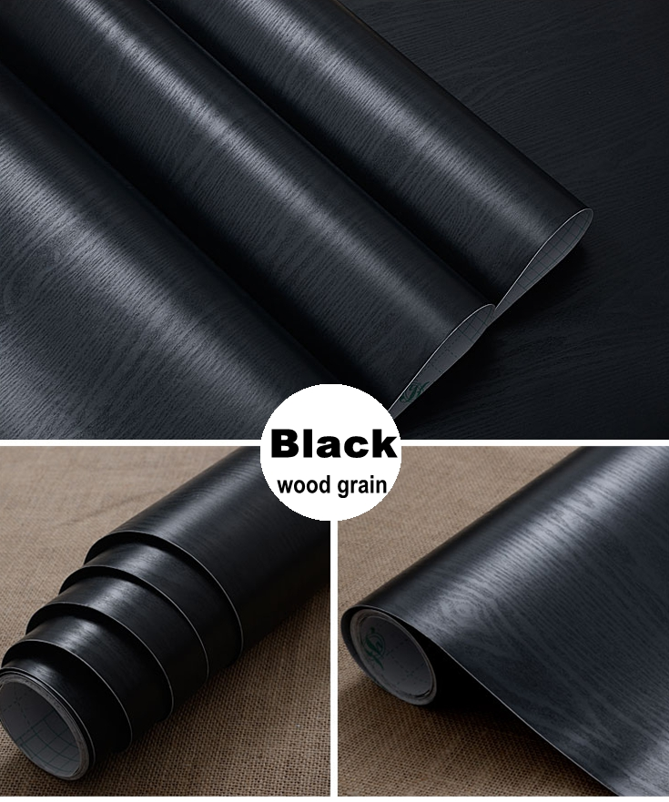 Black matt wood grain furniture stickers pvc wallpaper kitchen cabinet wardrobe door desktop countertop speaker decorationBlack matt wood grain furniture stickers pvc wallpaper kitchen cabinet wardrobe door desktop countertop speaker decoration