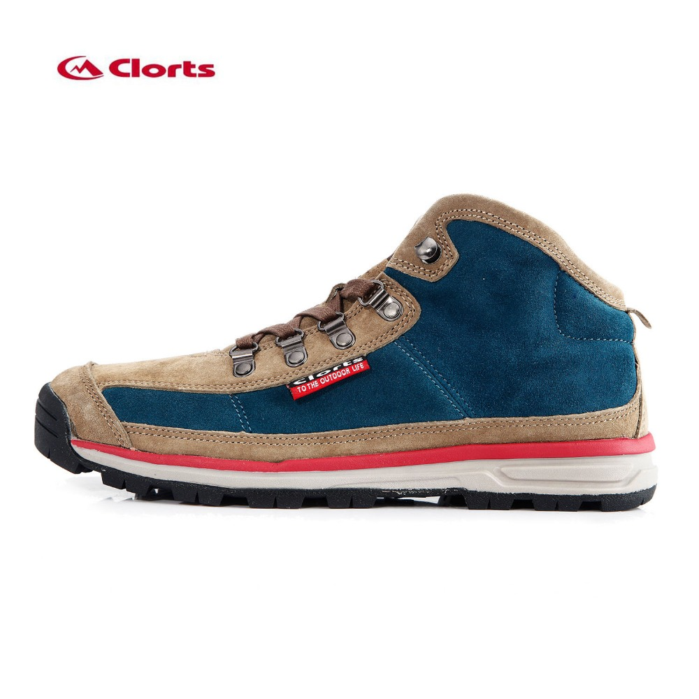 ФОТО Clorts High Top Men's Spring & Fall Outdoor Hiking Trekking Shoes Sneakers For Men Suede Leather Climbing Mountain Shoes Man