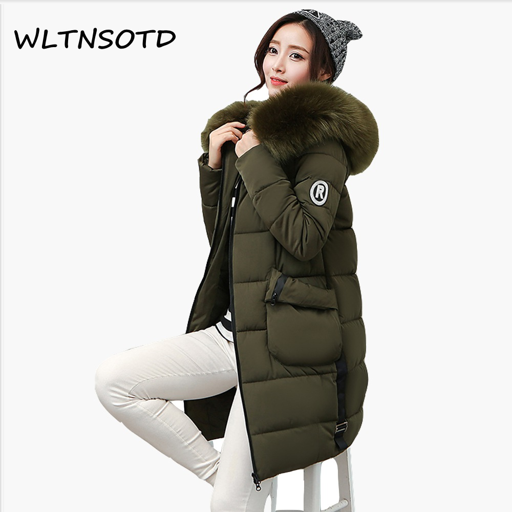 Ukraine Sale 2017 New Winter Cotton Coat Women Long Thick Big Fur Collar Warm Slim Jacket Female Fashion Hooded Badge Parkas 2017 winter new cotton coat women slim long hooded thick jacket female fashion warm big fur collar solid hem bifurcation parkas